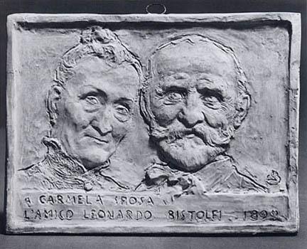 """Leonardo Bistolfi - Targa per """"Carmela sposa"""""""