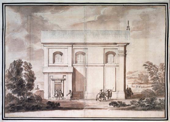 Carlo Marchionni - Prospetto laterale di una chiesa a Riano per il principe Ruspoli