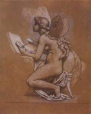 Elihu Vedder - Studio della figura di Psiche per l'allegoria di Roma o The Art Idea