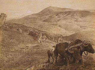 Giulio Aristide Sartorio - Collina con pecore al pascolo