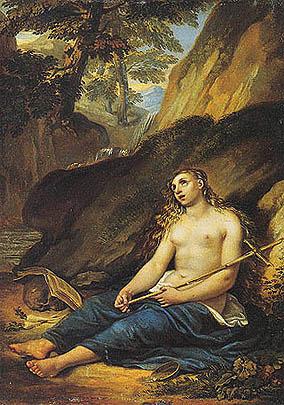Giuseppe Bezzuoli - La Maddalena penitente in un paesaggio roccioso