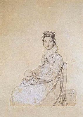 Jean-Auguste-Dominique Ingres - Ritratto di Rosa Meli con la figlia Letizia