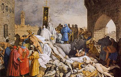"""Prima giornata del Decameron. Terzo racconto: """"La novella di Melchisedech giudeo"""" Luigi-sabatelli-la-peste"""