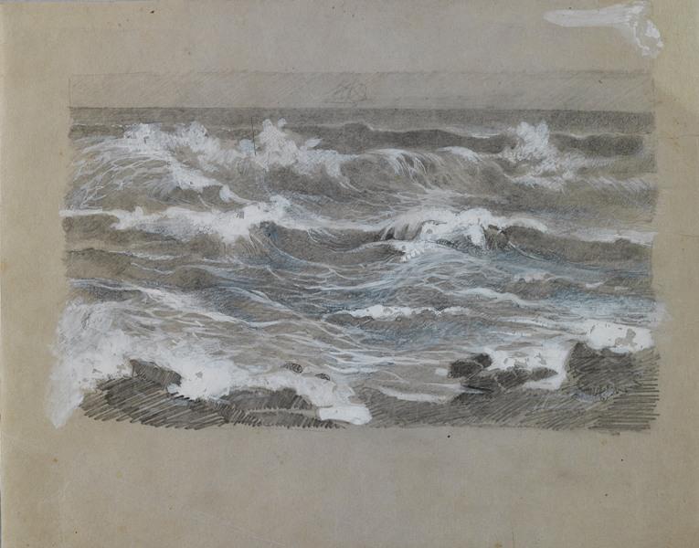 Giuseppe-Cellini-Studio-di-onde-1889-circa-matita-e-biacca-su-carta-velina