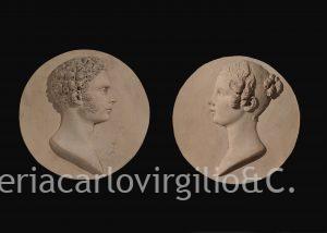 Simonetti: coppia di ritratti a medaglione